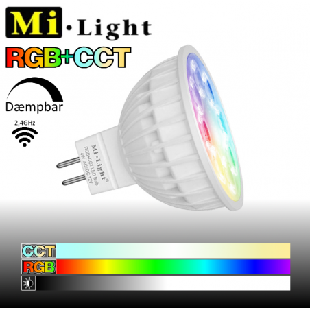 Mi•Light RGB+CCT MR16 LED pære 12V 4W 280Lm